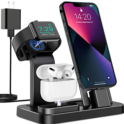 3 in 1 Charging Station for Apple Products, Removable Charging Stand for iPhone Series AirPods Pro/2/1, Charging Dock for Apple Watch...