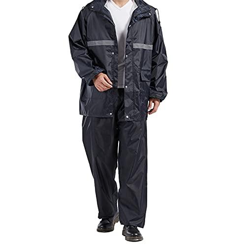 XFSHKJS Waterproof Fishing Rain Suit (Rain Gear Jacket & Trouser Suit),Womens Mens Windproof Rain Jacket Hooded Raincoat, Full Zip Rainwear - Navy (Color : Navy, Size : XL)