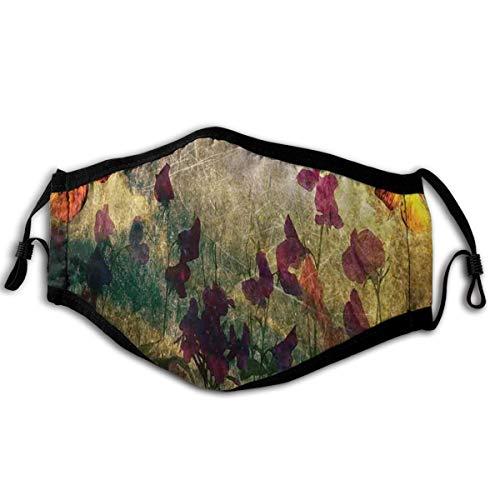 HUAYEXI Gesichtsbedeckung,Vintage inspirierte verbrannte Murk Design mit Mohnblumen auf Wiese Retro Old Style,Sturmhaube Unisex Wiederverwendbar Winddicht Staubschutz Mund Bandanas Outdoor Camping