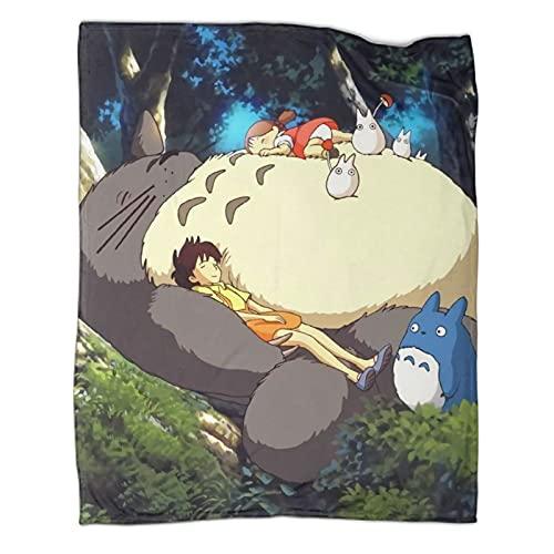 Trelemek Totoro Anime My Neighbor Totoro - Manta cálida, 150 x 200 cm, ligera, acogedora para sofá, cama, sala de estar, camping, todas las estaciones