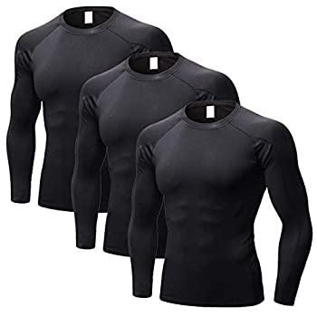 3 Packs Athletic Shirts for Men Cooling Shirts Long Sleeve Tees Sun Protection