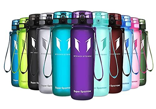 Sportowa butelka wody Super Sparrow -17oz - Plastik Tritan bez BPA - Otwiera się jednym kliknięciem - Wielokrotnego użytku z szczelną pokrywką - Do biegania, siłowni, jogi, na zewnątrz i na kemping