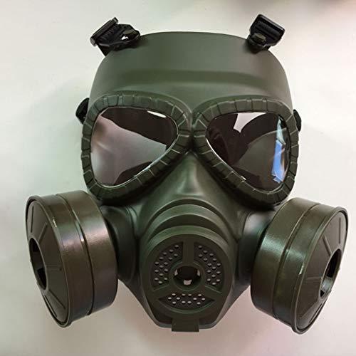 Sweet Taktische Masken, Gasmaske Vollmaske, Live-CS-Feldausrüstung, Helm, Doppelventilator, Taktischer Militärfan,Grün
