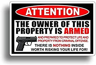 Gadsen Flags in USA -[ 2 Pack ] Owner is Armed ! 2nd Amendment Stickers - America's Original Homeland Security Sticker Decal 4 inch- Warn Off Would Be Burglars .- [ 2 Pack ]