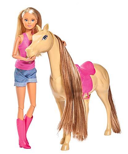 Simba 105733052 - Steffi Love Lovely Horse / Steffi als Reiterin / Pferd mit Magnetfunktion beim Füttern / Ankleidepuppe / 29cm, für Kinder ab 3 Jahren