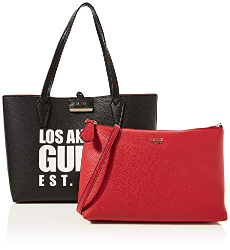 Guess Bobbi Inside out Tote, Bolso Tipo Mujer, Multicolor (Black/Red), 12.5x27x42.5 centimeters (W x H x L)