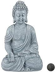 Relaxdays Boeddha figuur zittend 18cm, decoratief figuur voor woonkamer, badkamer en tuin, vochtbestendig, kunststeen, grijs