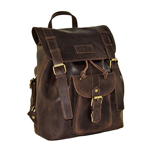 "MENZO Lederaccessoires ""Meran"" Buffalo Vintage Leder, Lederrucksack, Cityrucksack, Backpack für Damen und Herren (Dunkelbraun)"