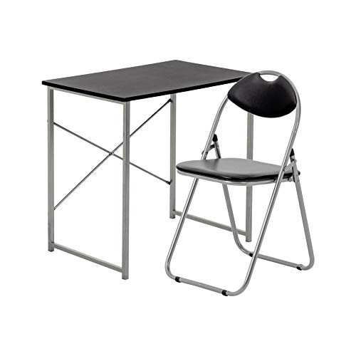 Harbour Housewares 2 Piece Computer Desk and Chair Set - Small Home Office Workstation for PC Laptop Study - Wooden Top - Black/Black