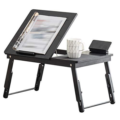 Mesa Plegable de Moda, Escritorio para portátil, ángulo y Altura, Escritorio Ajustable, Mesa Baja, Mesa de Desayuno de bambú Natural, Altura 22-33cm
