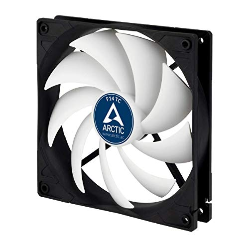 ARCTIC F14 TC - Temperaturgesteuerter 140 mm Gehäuselüfter, Standard Case Fan, Temperatursensor reguliert RPM, Push- oder Pull-Konfiguration, 400-1350 U/min.