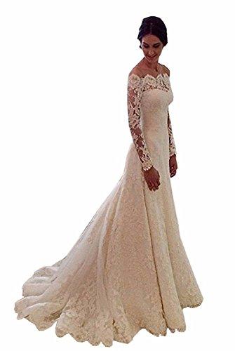 Cloverbridal Damen Hochzeitskleider A Linie Elegant Lange Ärmel Spitze Von der Schulter Brautkleider mit Zug (48, Weiß)
