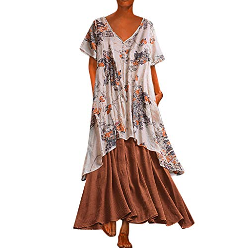 Wtouhe Vestido de mujer, Vestido de mujer vintage costura o cuello dos XL bolsillo vestido largo 2019 nuevo