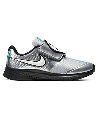 Price comparison product image Nike Toddler Boys Star Runner 2 Auto Stay-Put Closure Running Sneakers (1,  Metallic Silver / White-RED)