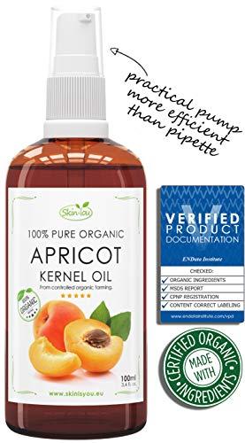 Aprikosenkernöl 100% Reines Bio Kaltgepresst 100ml | Schnell absorbierendes, leichtes Öl | Erste Wahl für Massagen | Reduziert dunkle Ringe und geschwollene Augen | Schönes Haar, das nicht fettet