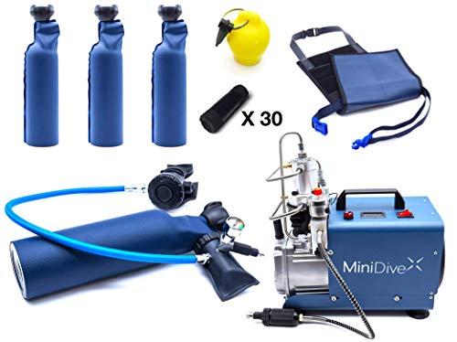 MiniDive MiniDuikfles 0,8 L Blauwe Aluminium Duikfles Met Hoge Druk Compressor En Houdend Harnas En Extra Duikflessen 3 Stuks I Duikuitrusting Unisex