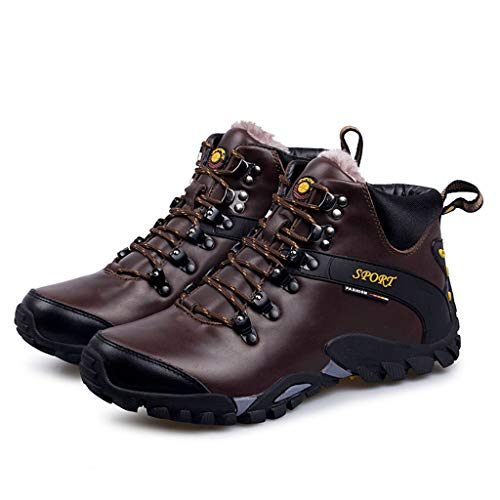 Men's Hiking Boots,Plush Lining Low top Ankle Boots Outdoor Working Camping Winter Cotton Shoes,Brown A- 45/UK 10.5/US 11