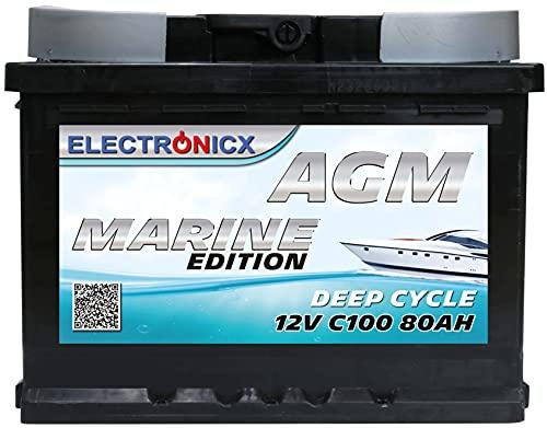 AGM Batterie 12v 80Ah Electronicx Marine Edition Solarbatterie 12v Akku 12v Solar Batterien Versorgungsbatterie 12v Wohnwagen Batterie Wohnmobil Gelbatterie 12v 80ah Solar Akku mover batterie 80 Ah