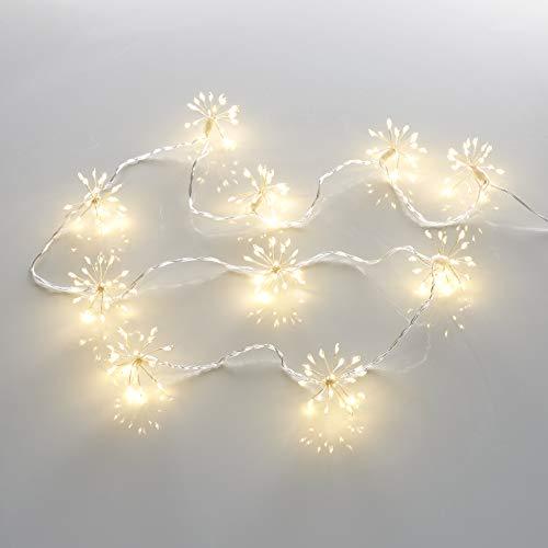 200 LED Lichterkette Weihnachten Sparkling Leuchtball 180cm lang/Feuerwerk/Pusteblume mit 5m Zuleitung Netzteil und Timer für den Innenbereich (Warmweiß)