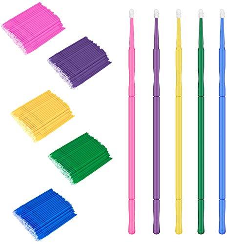 SunshineFace micro pinceaux applicateurs 500 pcs rallonges de maquillage pour cils baguettes multifonctions jetables pour mascara