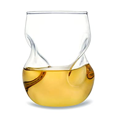 Dragon Glassware Wine Glasses - Stemless Tumblers with Wave Design for Decanting and Aeration - 16 Ounces, Set of 2 (Gift Boxed)