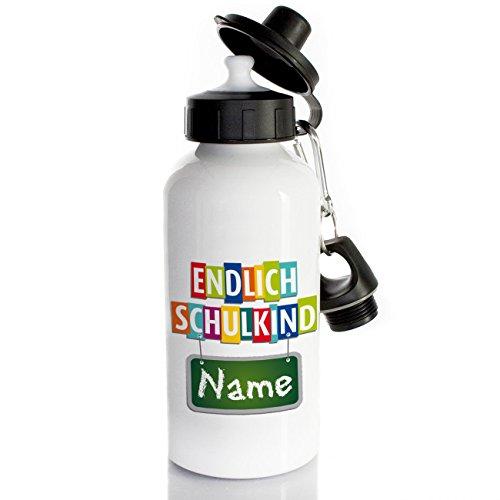 Striefchen - Kinder Wasserflaschen für die Schule in Weiß, Größe 7,2 cm x 16 cm (Ø/H), Fassungsvolumen 500 ml,