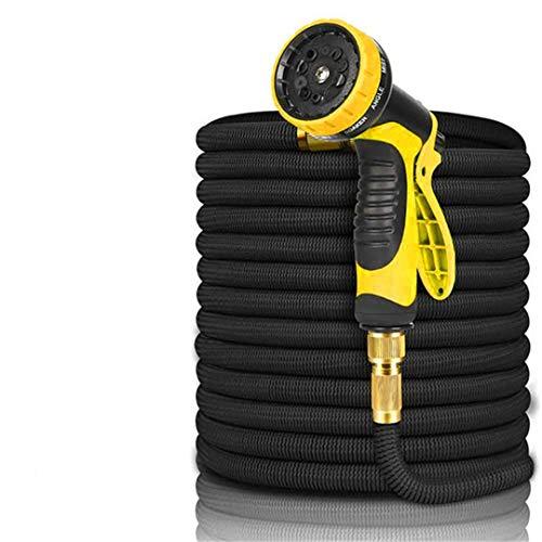 Interfaz universal Manguera agua para jardín Manguera riego expandible Lavado autos alta presión Manguera mágica flexible Herramientas riego tubería Black Yellow Gun 150ft (45m)