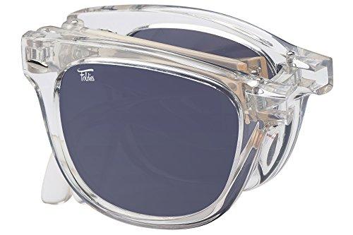 Foldies Clear Folding Sunglasses with Polarized Black Lenses