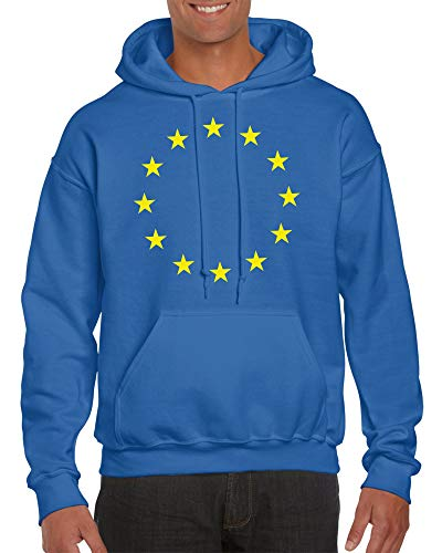 druck-fuchs Europa Hoodie Blau Sterne Damen und Herren Hoody Kapuzenpullover Europawahl Flagge EU (L)