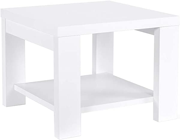 Sunon End Table Square Side Table With Lower Storage Shelf For Living Room Bedroom White
