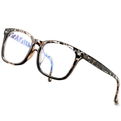 DeBuff Blue Light Blocking Glasses Women Men Clear Lens Square Frame Computer Eyeglasses (Leopard)