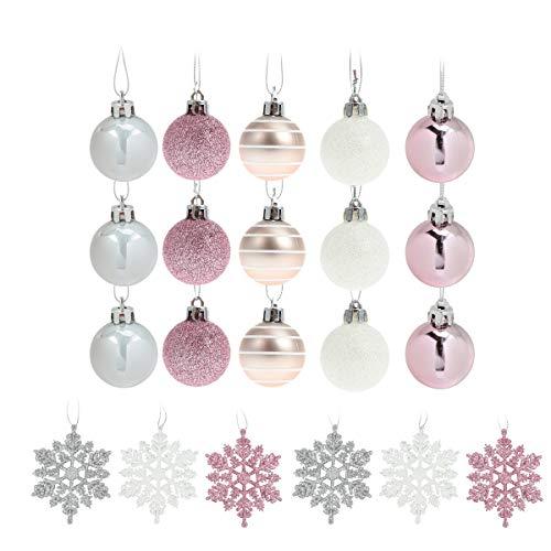Amosfun 24Pcs Silver Pink Christmas Decorations Xmas Tree Silver Baubles Snow Balls Christmas Party Snowflake Pendant