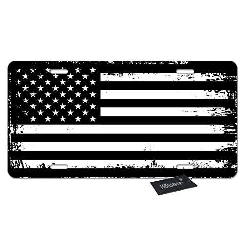 WONDERTIFY License Plate Grunge American Flag USA Flag Black and White Patriotic...