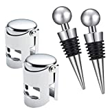 INSANYJ Wine Stoppers for Bottle,2 Wine Bottle Stoppers and 2 Champagne Stoppers for Wine Collection Red Wine Beer Saver Sealer Stainless Steel