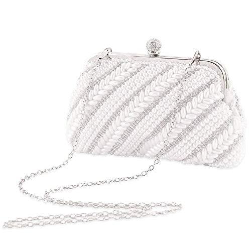 LONGBLE Damen Clutch Abendtasche Gestapelt Perle Handtasche Strass Geldbörse Glänzende Umhängetasche Abnehmbare Minitasche Ring Schnalle für Hochzeit Party Dating Bar Neues Jahr Geschenk