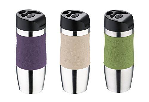 Bergner Thermobecher Edelstahl/Kunststoff Thermoskanne - Tasse lila/grün/beige 400 ml