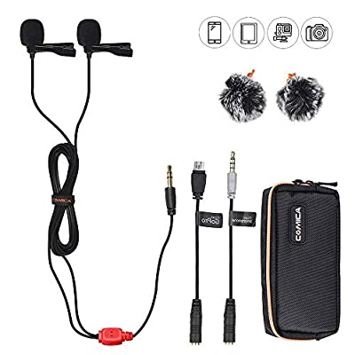Comica CVM-D02 Dual Head Lavalier Lapel Microphone Omnidirectional Condenser Clip on Interview Microphone for Canon Nikon Sony DSLR Cameras,Smartphone, GoPro 4+/3+ Action Camera Mic