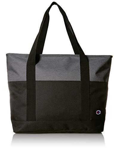 Color block bag with carry handles Two interior zip pockets Zip closure Champion logo