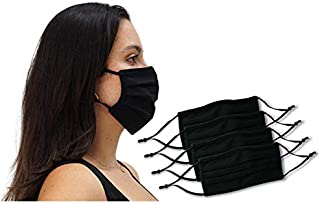 12 Pack Unisex Reusable Pleated Fabric Face Mask with Adjustable Elastic, 2 Layer, Washable, Nose Wire (Size OS, 12 Pack)