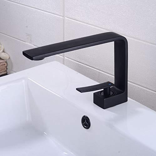 Wastafel Kraan Messing kraan Moderne Stijl Wastafel Kraan Enkel Handvat Keukenkranen Koud en Warm Water Mixer Mat Zwart