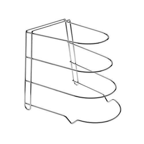 takestop® Organizador de ollas y sartenes, tapas, cocina, 3 estantes, metal cromado,...