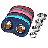 Vivaglory Dog Bowl Stainless Steel Cat Puppy Food and Water Bowls with Wider Non Skid Spill Proof Silicone Mat, Navy Blue