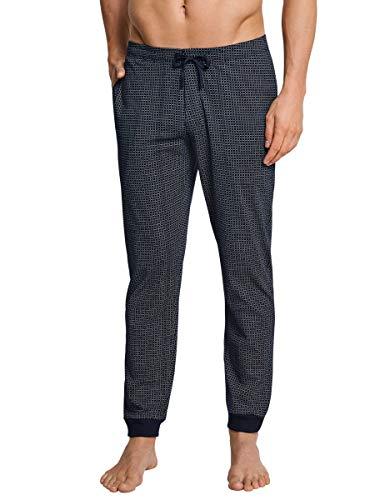Schiesser Herren Schlafanzughose Mix und Relax Lang Bündchen, Blau (Dunkelblau-gem. 835), 50 (Herstellergröße: M)