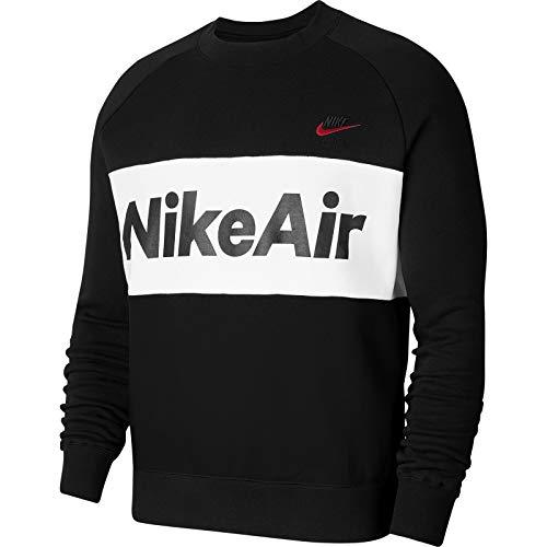 Nike Herren M NSW AIR CRW FLC Sweatshirt, Black/Black/White/University red, 2XL