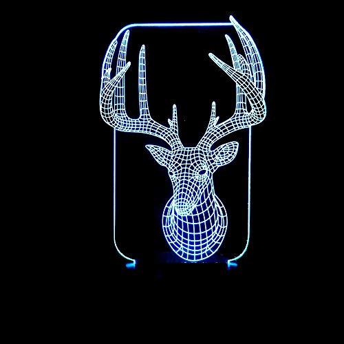 DKee Lámparas de mesa Gradiente De Colores LED De Navidad Alces 3D Estereoscópico Del Toque De Luz Nocturna Lámpara De Escritorio De Noche Regalos De Navidad Creativo Decorativo Escritorio Remoto USB