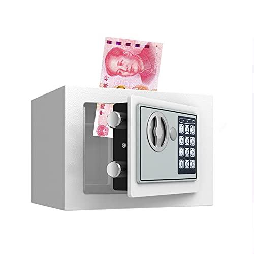 ZJJ Caja Fuerte Electrónica Digital Pequeña De Acero De Alta Seguridad Compacta con Llave De Emergencia Y Teclado Digital Hucha En Efectivo para Oficina En Casa,White2