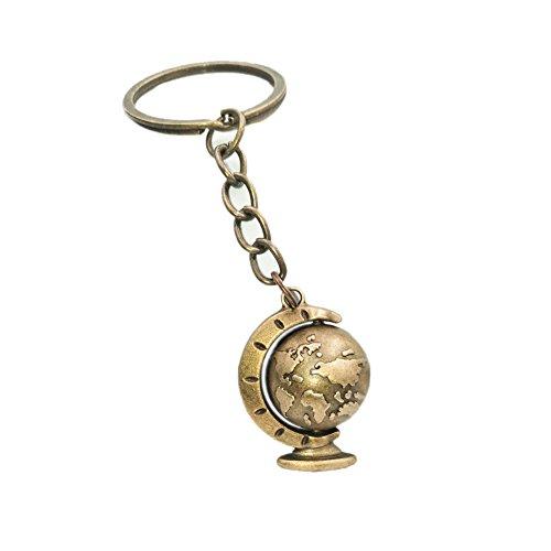 Gudeke Landkarte Schlüsselanhänger Bronze Farbe Erdkugel Herren Schlüsselring Weltkugel Drehen Welt Globus Schlüsselbund