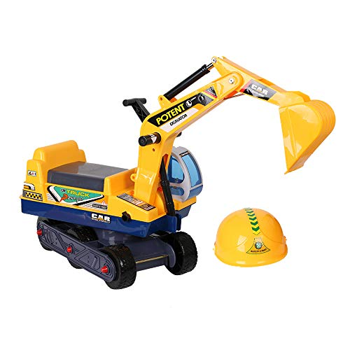 COLOR TREE Toddler Ride-on Excavator Construction Truck Toys for Kids Digger Scooter Vehicle Bulldozer Includes Helmet