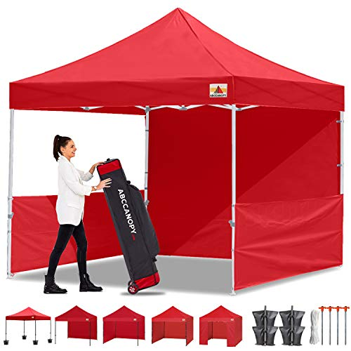 ABCCANOPY 10x10 Pop-up Canopy Easy Pop Up Canopy Tent 10x10 Commercial Tents with Sidewalls Bouns Roller Bag Bonus 2pcs Half Wall (Red)