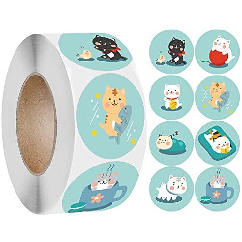 HUIJUAN 1 paquete de 500 pegatinas de alta adherencia para el Día de la Madre con diseño de gato